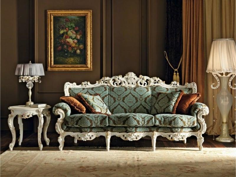 blaues Sofa im Barock Stil