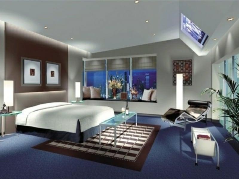 Zarte Blaue Farbe Im Luxus Schlaftimmer