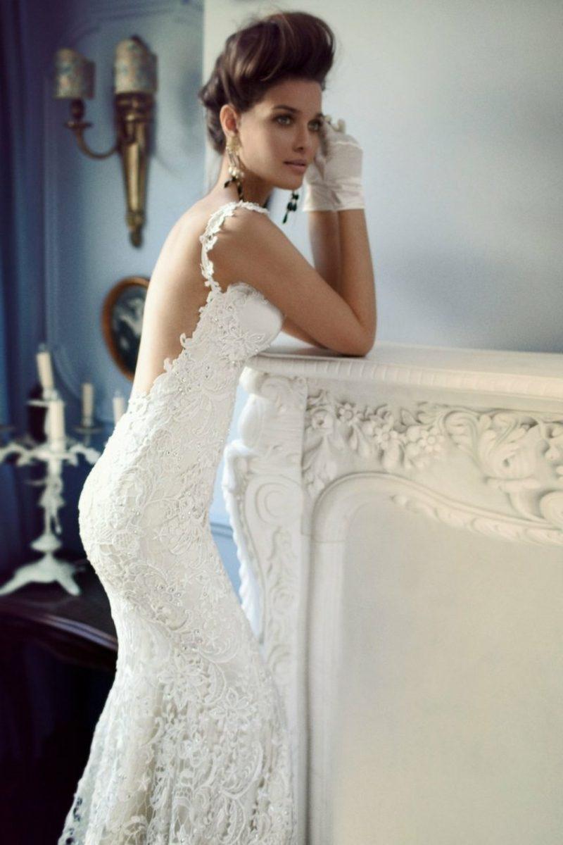 atemberaubendes enges Hochzeitskleid mit Spitzen