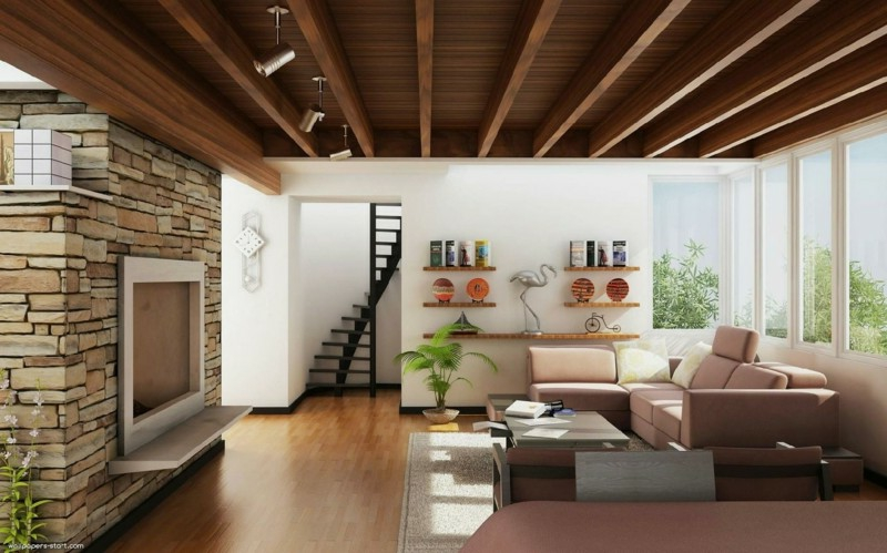 Deckengestaltung Wohnzimmer Deckenverkleidung Holz Schlafzimmer
