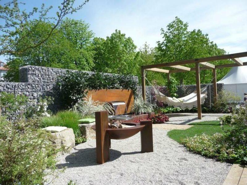 Gartengestaltung Gabionenzaun Stein