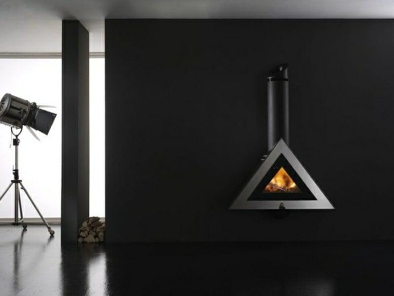 designer hängender kamin in schwarz