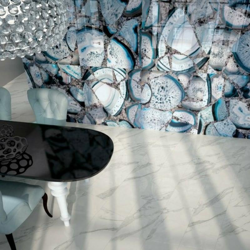 Esszimmer Fliesen Edelsteinoptik