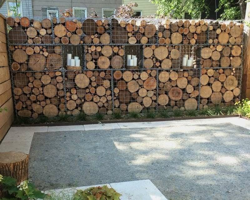 Gabionenzaun Holz