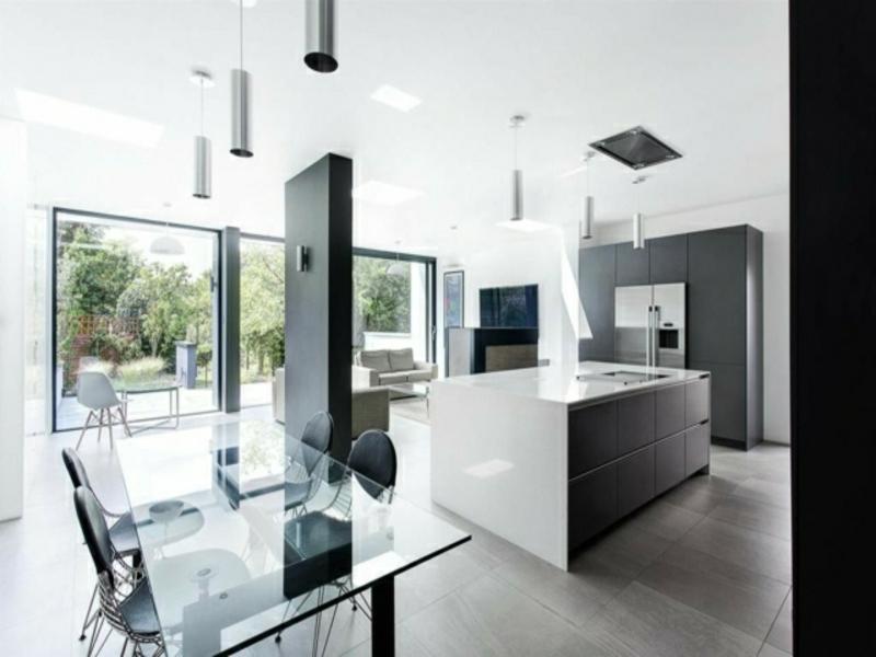 designer kücheninsel neben der trennwand