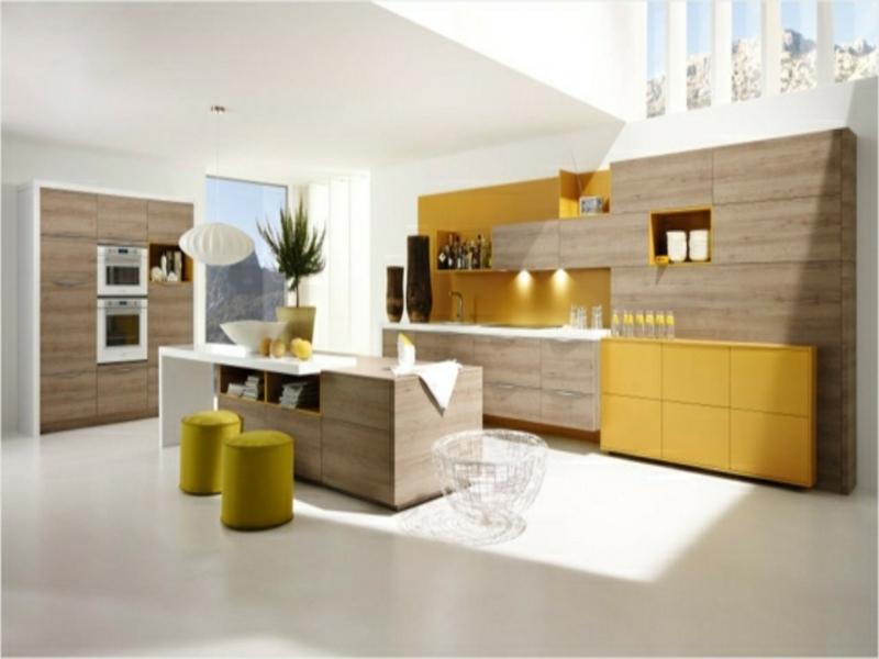 moderne kücheninsel und moderne gelbe schränke