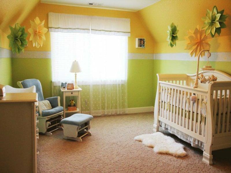 gelb-grüne farbgestaltung im kinderzimmer
