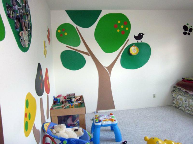 grüne malereien auf der wandgrüne farben auf der wand im kinderzimmer