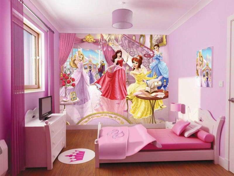rosa farbe und tapete im mädchenzimmer