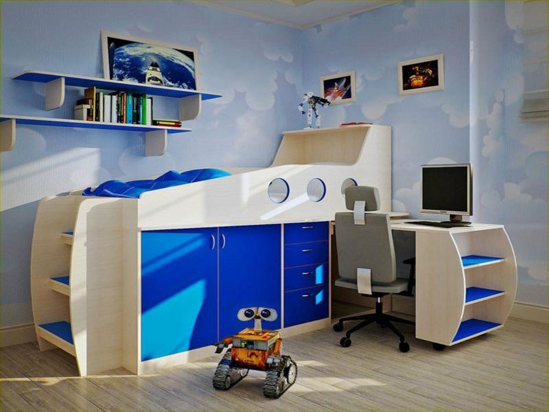 schönes blaues jungenzimmer