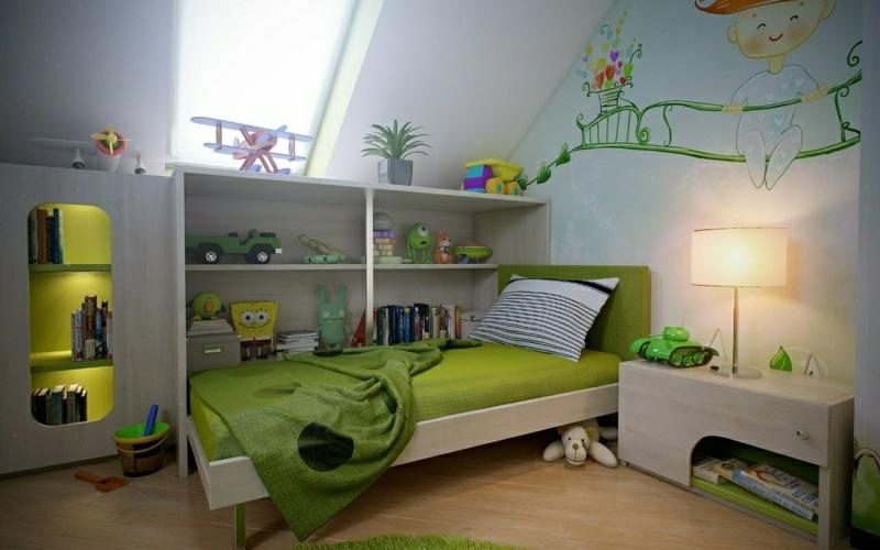 Kinderzimmer in Weiss und Grün