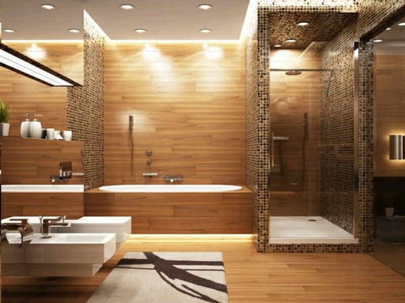 Deckenbeleuchtung Im Modernen Badinterieur. Moderne Kugelleuchte Im  Badezimmer