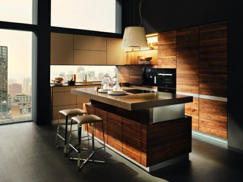 ultramoderne kücheninsel aus holz und granit