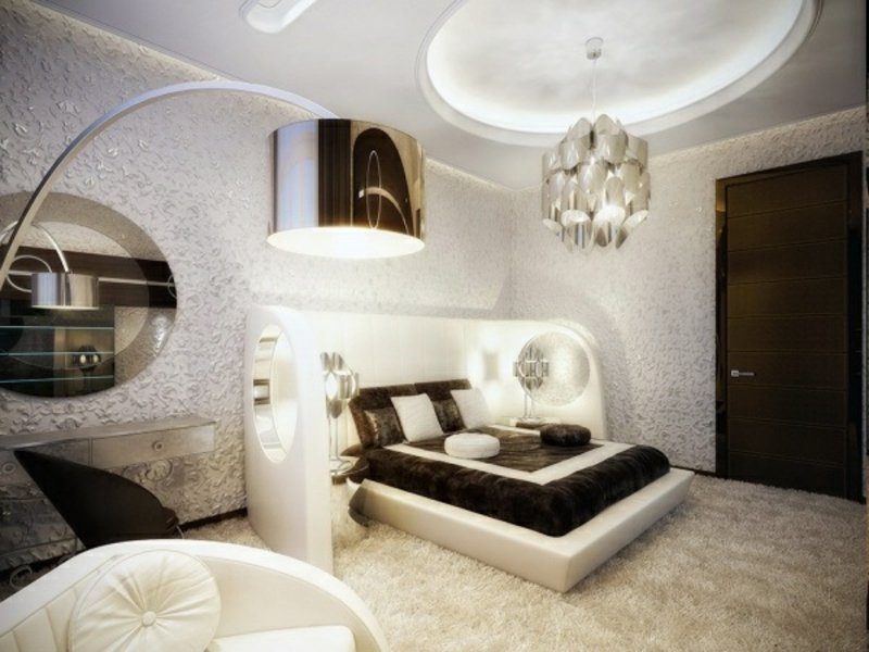 designer verschiedene lampenarten im luxus schlafzimmer
