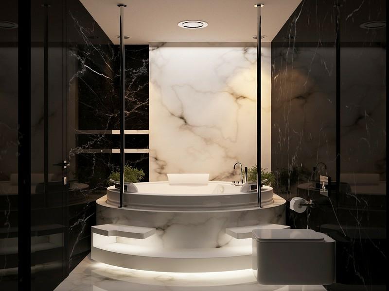 freistehende badewanne auf marmorfliesen