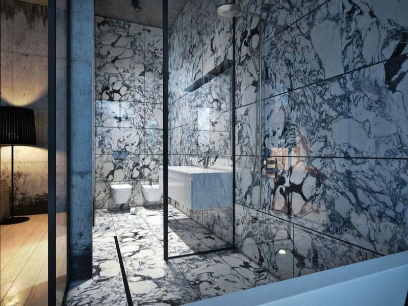 moderne charmante badgestaltung mit marmorfliesen