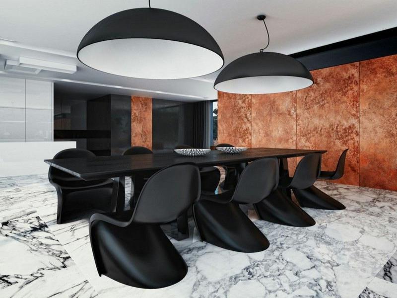 designer marmorfliesen im esszimmer