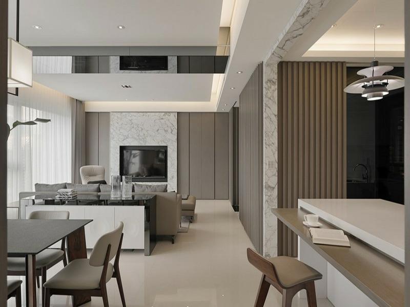 schone wohnwandeinrichtung mit marmorfliesen