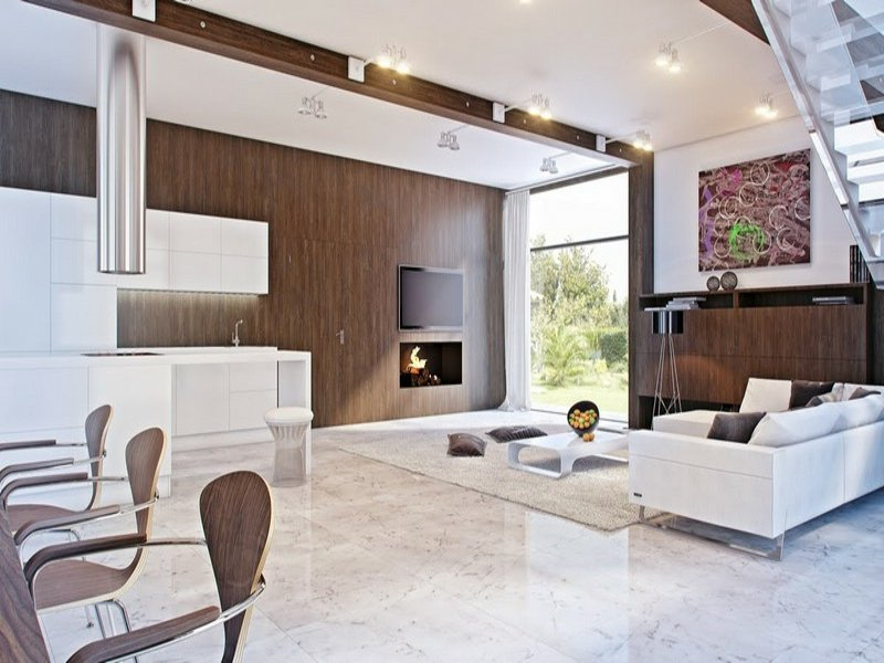 klassische helle marmorfliesen im wohnzimmer