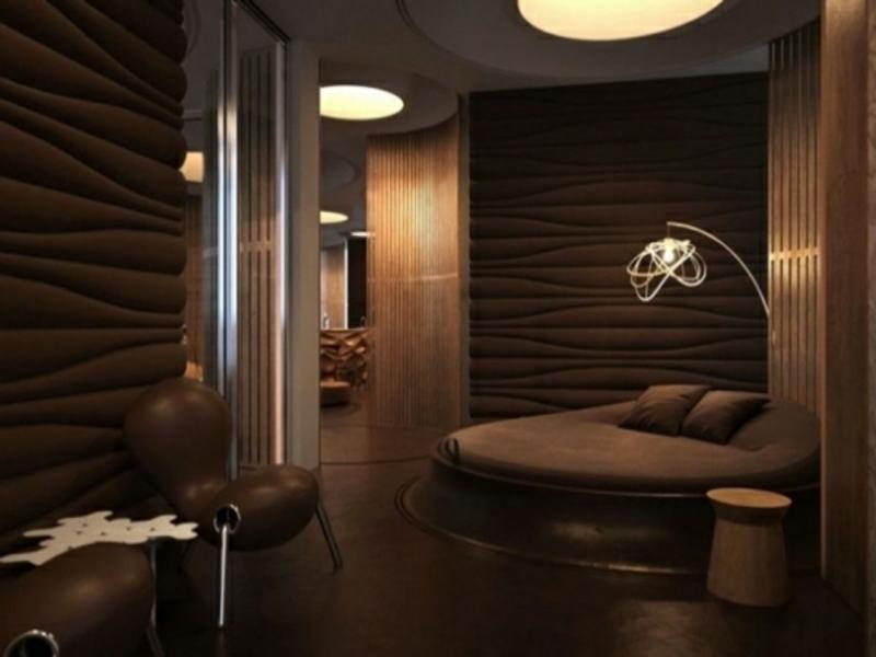 großes rundbett im luxus schlafzimmer