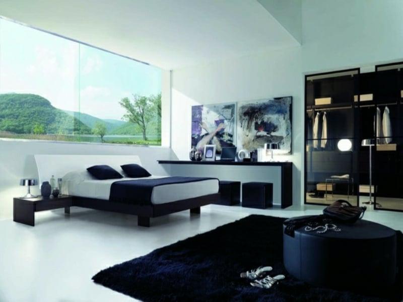 moderner begehbarer schrank im luxus schlafzimmer