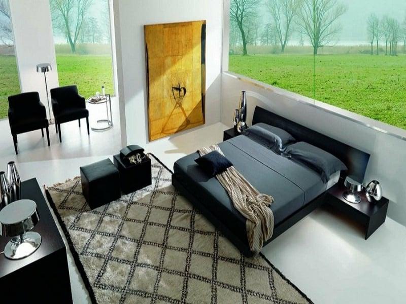 kleines schwarzes bett im luxus schlafzimmer