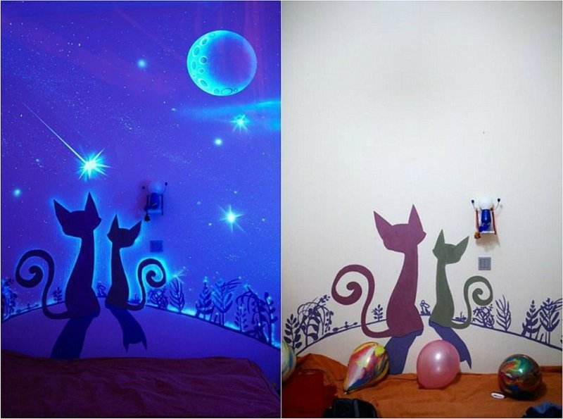 fluoreszierende farbe Katzen Wanddekorierung