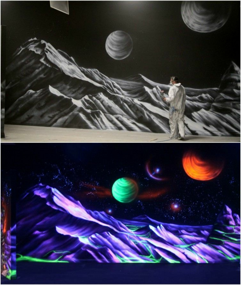 fluoreszierende farbe wanddeko Kosmos