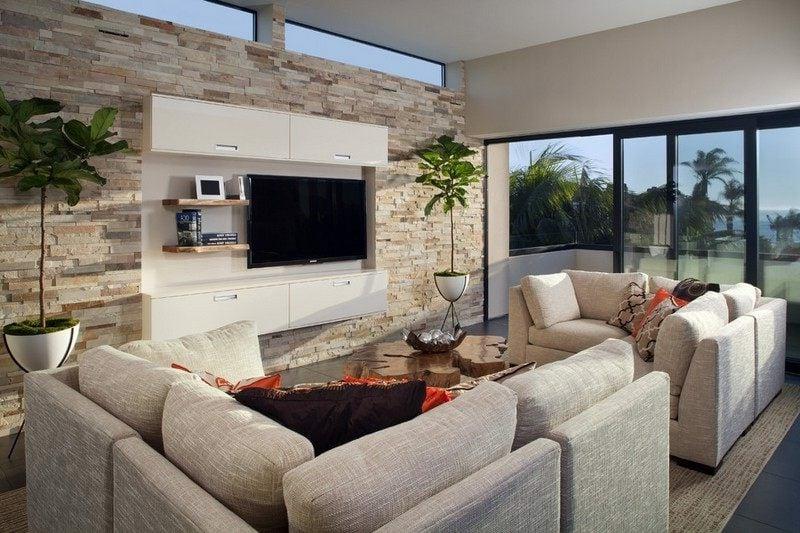 Design : wohnzimmer mit steinwand grau ~ Inspirierende ...