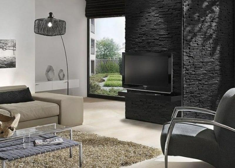Wohnzimmer Steinoptik bei Wandverkledung