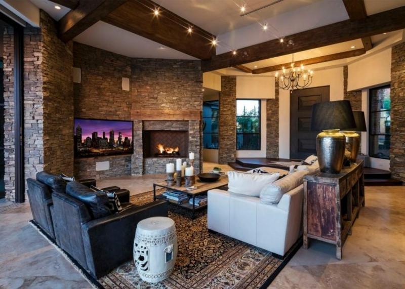Wohnzimmer Steinoptik bei Wandgestaltung