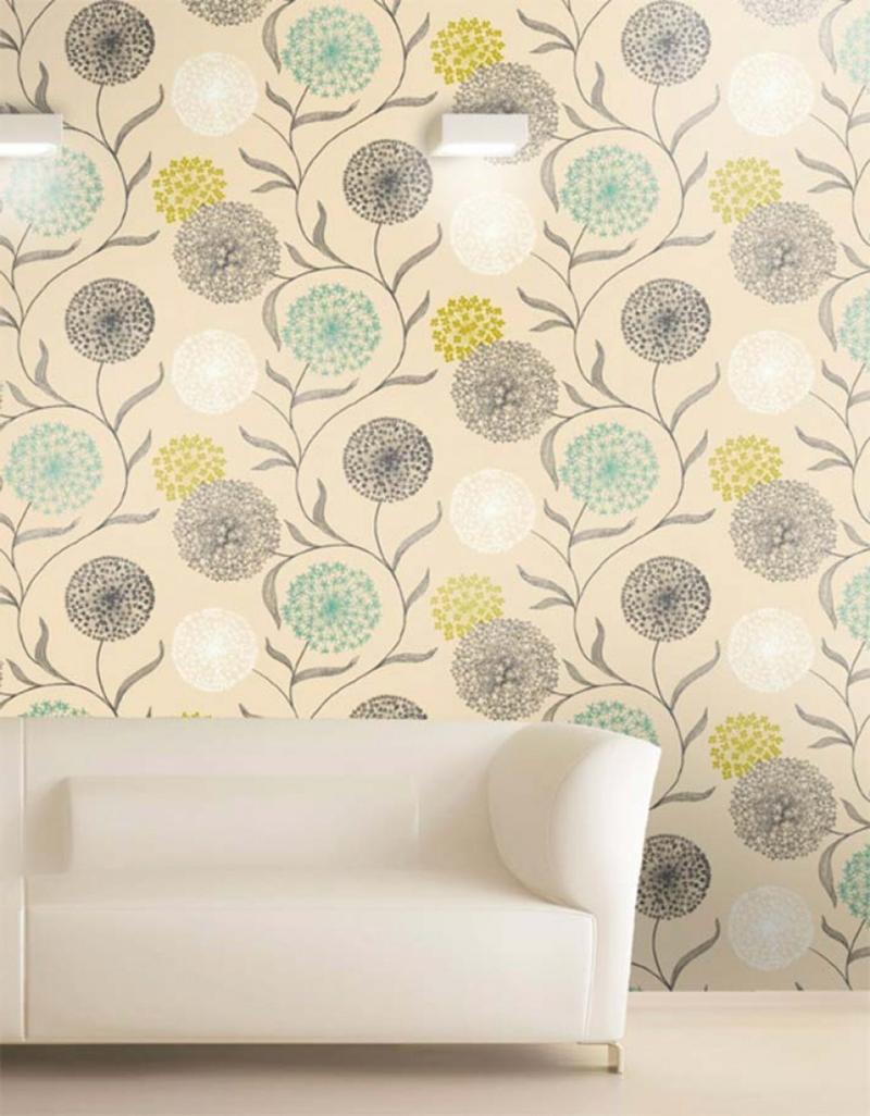 moderne Tapete mit floralen Motiven