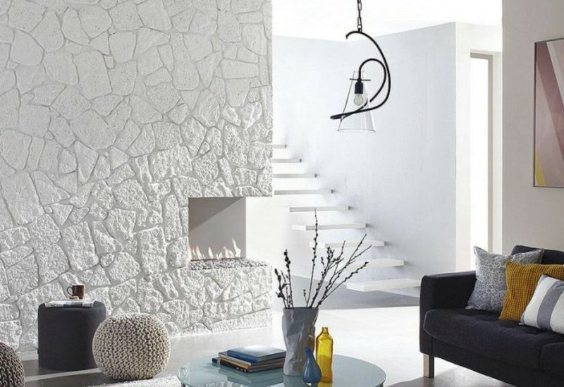 weisse Wandverkleidung Steinpaneele