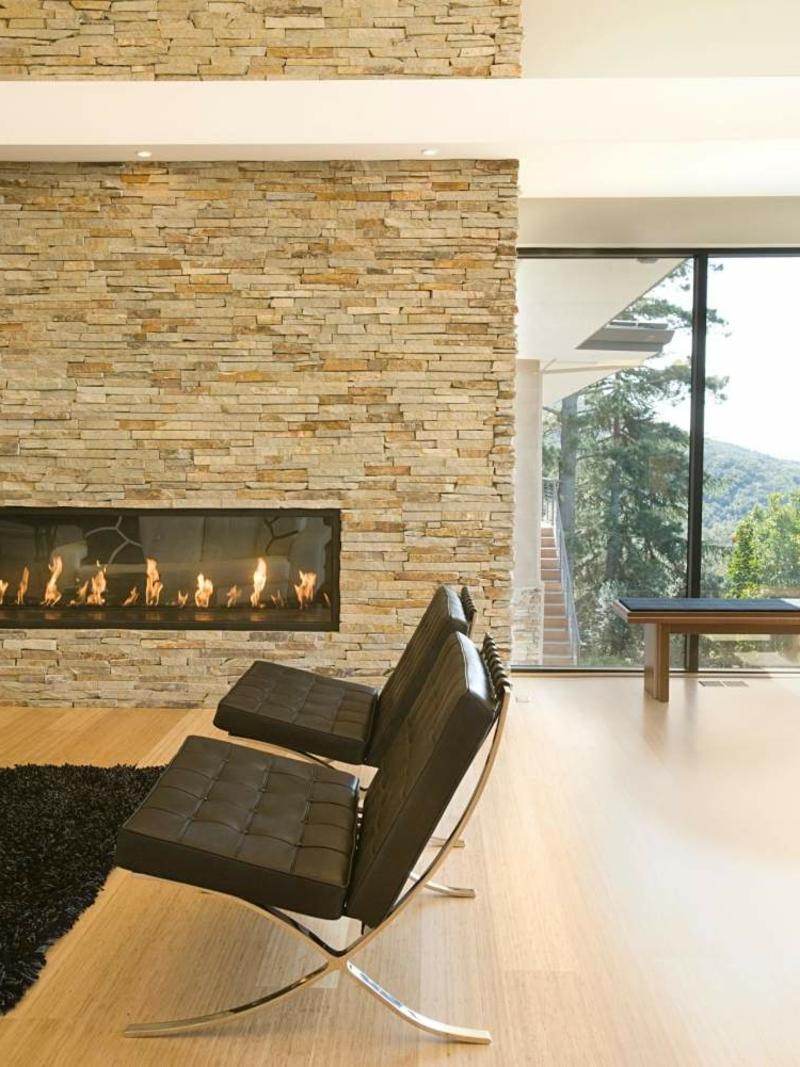 Steinoptik bei Wandverkleidung Wohnzimmerdesign