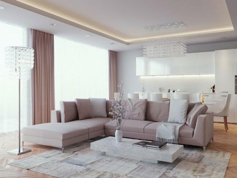 indirekte beleuchtung an einer abgehagenen decke in den wohnzimmereinrichtungen