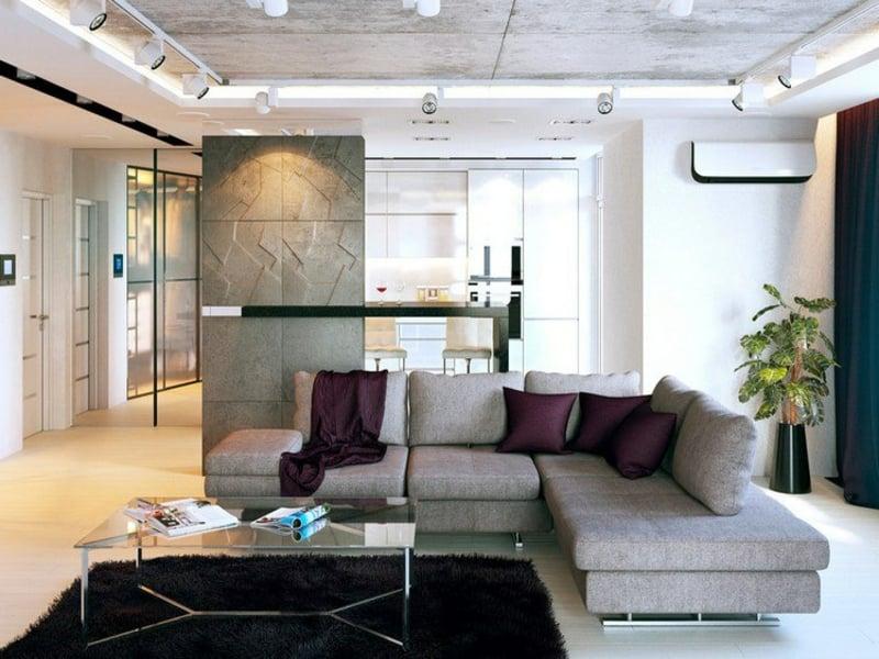 industrielle wohnzimmereinrichtungen und viele lampen