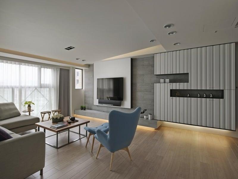 Lampen und wohnzimmereinrichtungen innendesign for Graue wohnwand