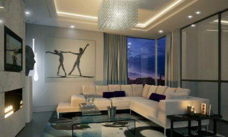 schöne wohnzimmereinrichtugen mit einem kristallkronleuchter