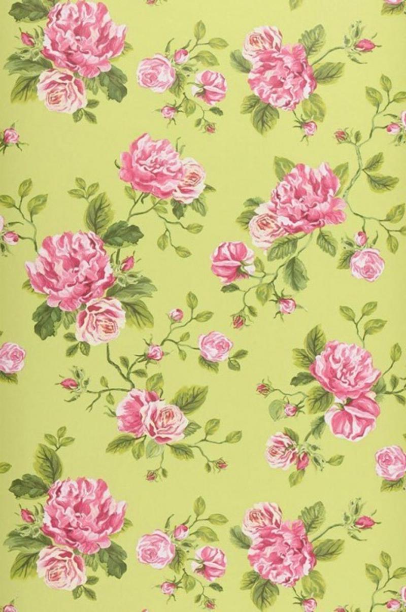 ausgefallene Tapete mit roza Blumen