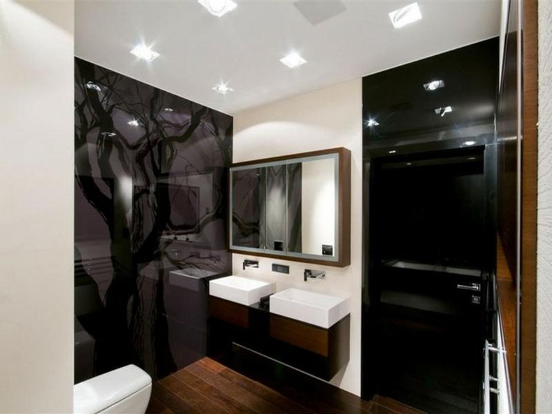 designer schwarzes glas im bad