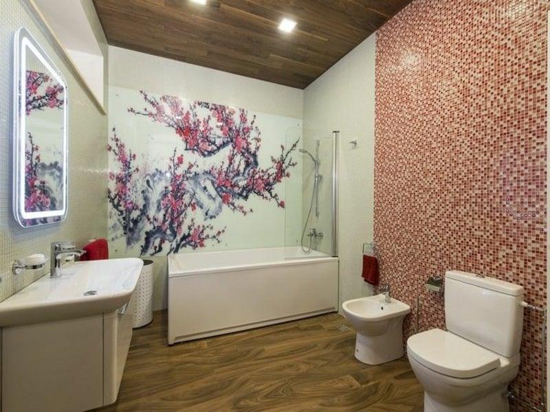 badezimmergestaltung in rosa farbe