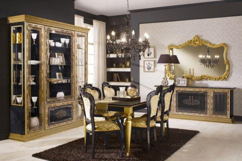 Barockmöbel Esszimmer Schwarz Gold