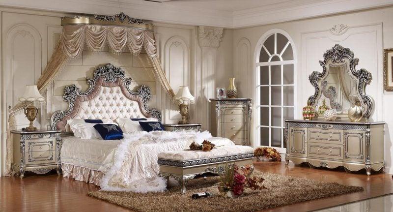 Barockmöbel Schlafzimmer weiss silber