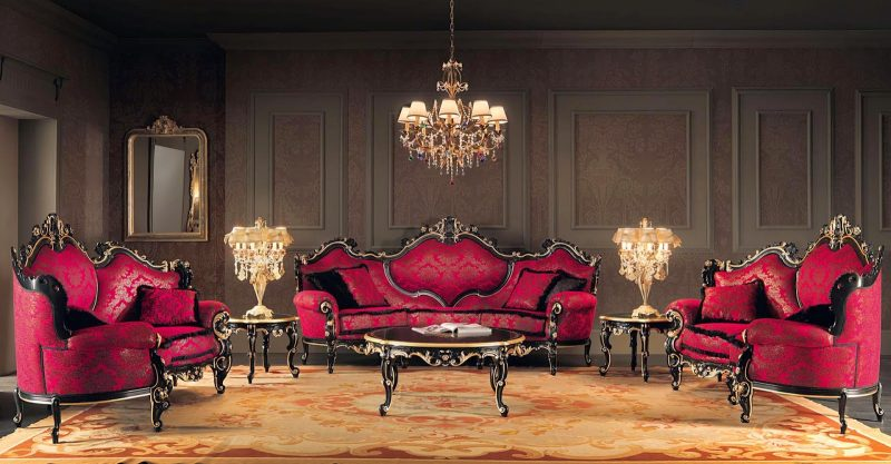 Barockmöbel Wohnzimmer Rot