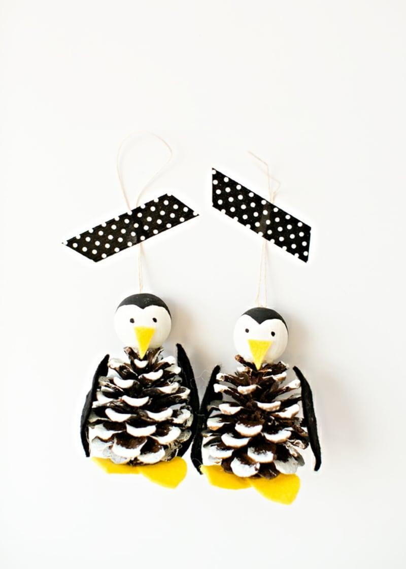 Basteln mit Tannenzapfen Pinguine