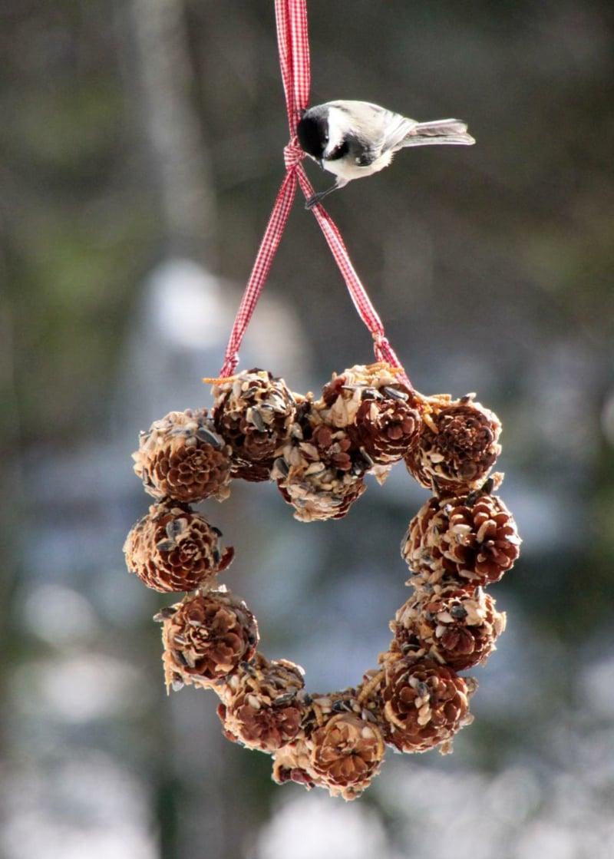 Basteln mit Tannenzapfen Kranz und Vogel