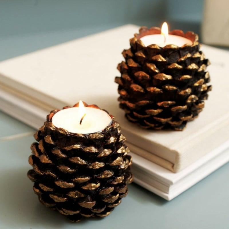 Basteln mit Tannenzapfen Kerzenideen