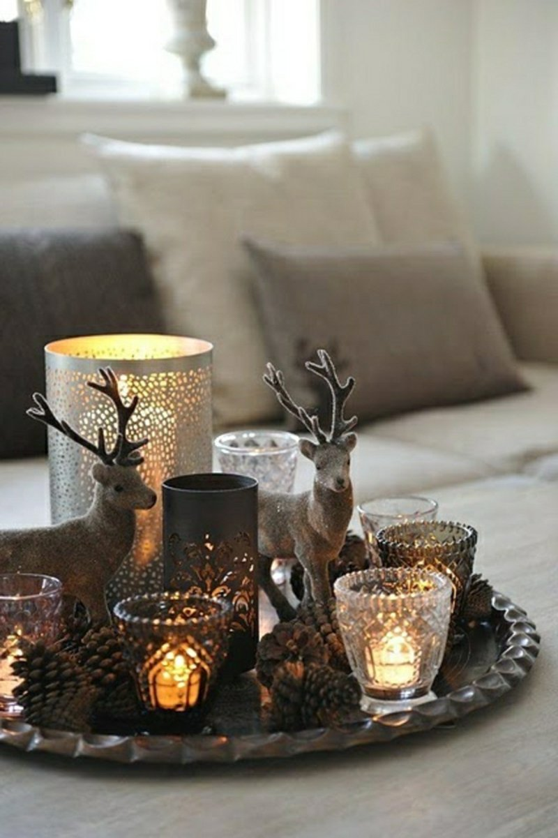 Basteln mit Tannenzapfen weihnachtliche Ambiente