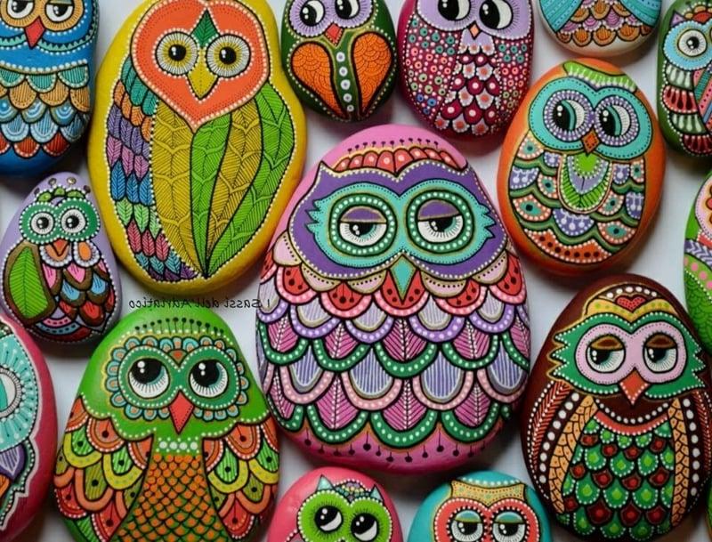 bemalte steine perfekt gemalte eulen