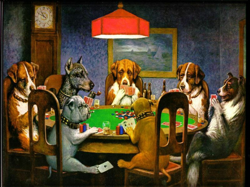 berühmte-kunstwerke-Dogs Playing Poker